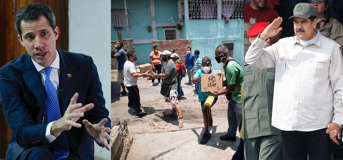 Juan Guaidó (t v) har godkänts som Venezuelas  president av 60 nationer. Nicolás Maduro (t h) hävdar att han fortfarande är president. Samtidigt lider befolkningen där de fattigaste lever på den så kallade Clap-lådan som ska innehålla de viktigaste produkterna för ett hushåll.