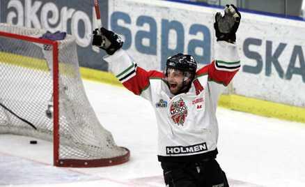 Niklas Sundström jublar efter sitt mål.