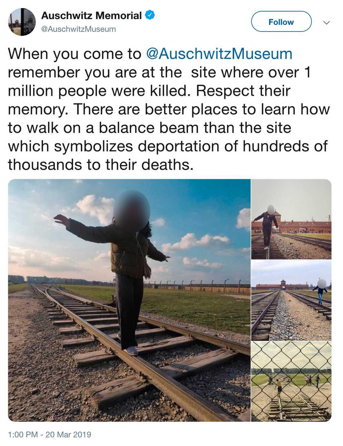 Sluta upp med okänsliga bilder, menar anställda på minnesplatsen.