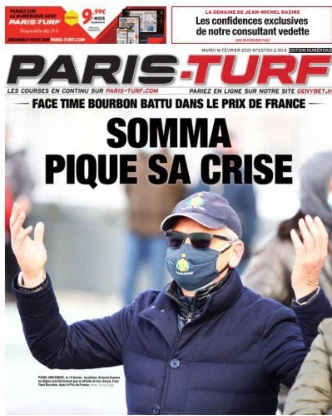 En uppgiven Antonio Somma pryder Paris-Turfs sida.