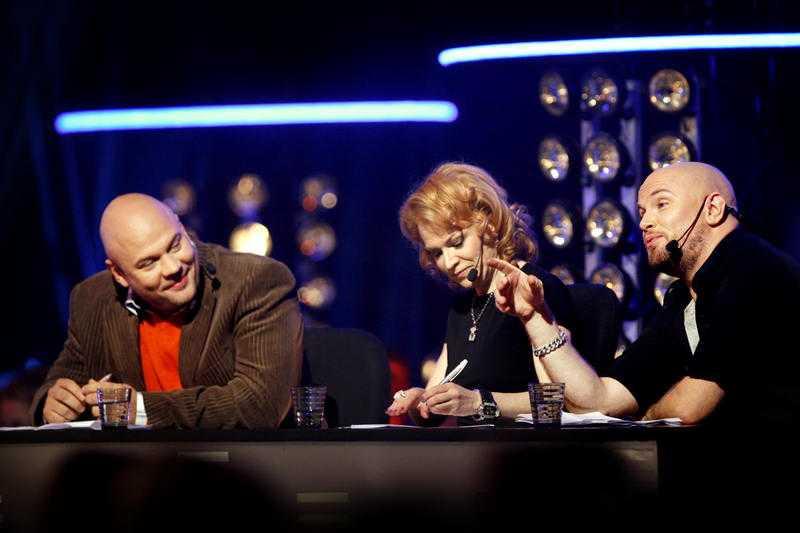 """Kishti i """"Idol"""" tillsammans med Peter Swartling och Daniel Breitholtz"""