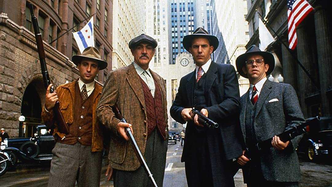 """Andy Garcia, Sean Connery, Kevin Costner och Charles Martin Smith i """"De omutbara"""" (1987)."""