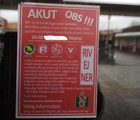 Invånare ska enligt affischen inte ringa Malmö stad för frågor om karantänrekommendationen.