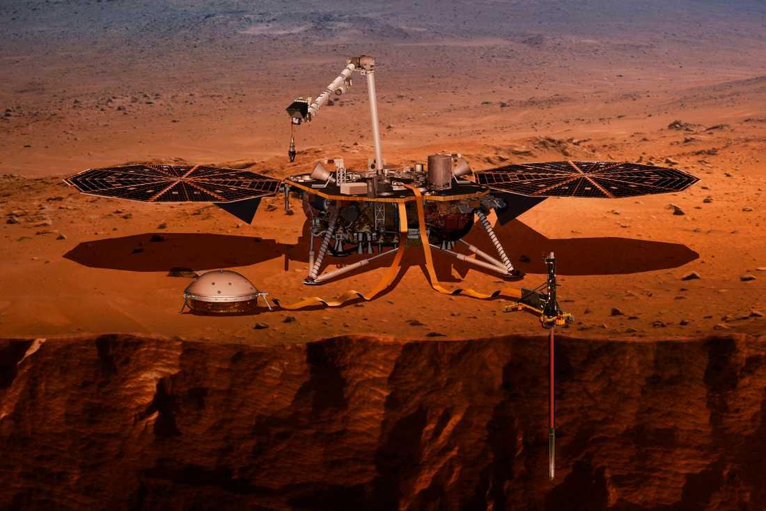En illustration från Nasa som visar hur Insight borrar sig ner i Mars yta. I början av nästa vecka är det dags för rymdfarkosten att landa.