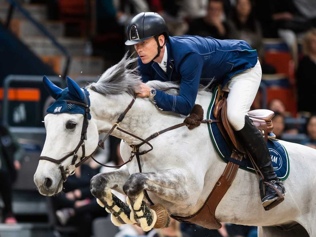 Peder Fredricson och H&M Kirlo van den Bosrand under världscupfinalen i Göteborg.