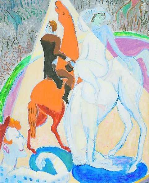 Isaac Grünewald: Den röda och den vita hästen (1918). Privat ägo.