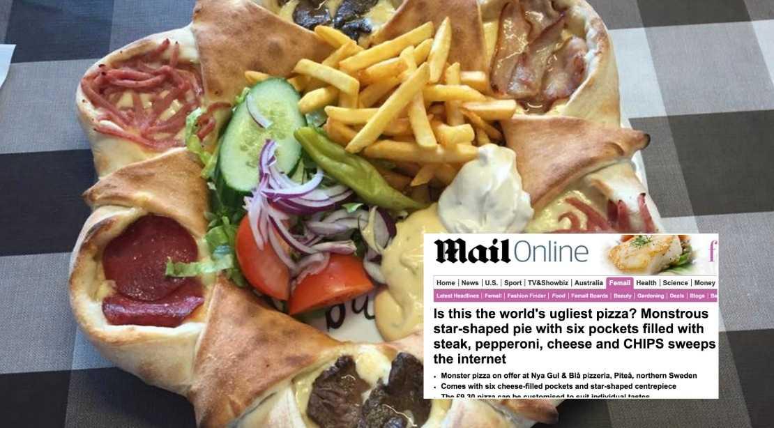 Pizzan hånas av stora tidningen. Foto: Nya Gul & Blå / Faksimil Daily Mail.