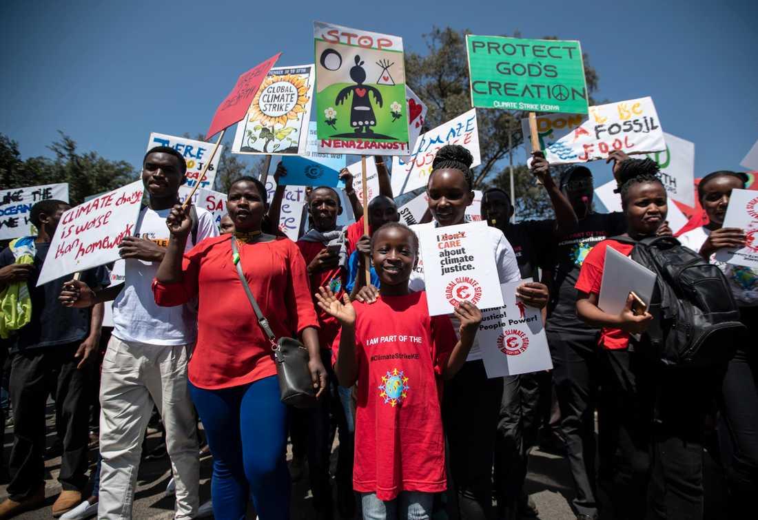 I Nairobi i Kenya samlades omkring 1000 demonstranter som tillsammans marscherade för att kräva handling mot klimatförändringarna.