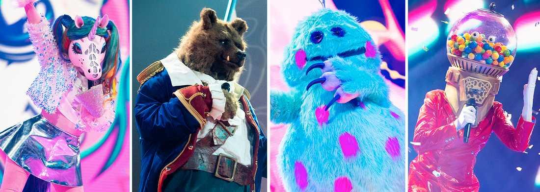 I kvällens program tävlar Enhörningen, Sjöbjörnen, Monstret och Godisautomaten.