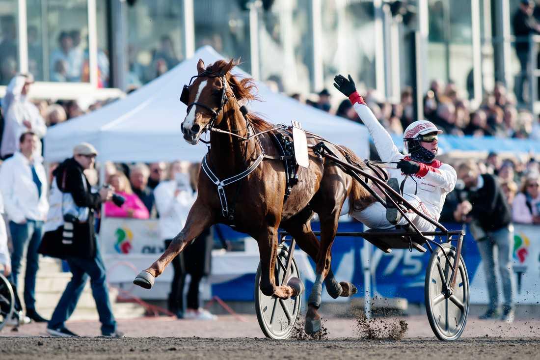 Lionel och Göran Antonsen vid segern i Olympiatravet. Nu siktar ägaren på att köra sin häst i världens tuffaste travlopp, Prix d'Amérique.