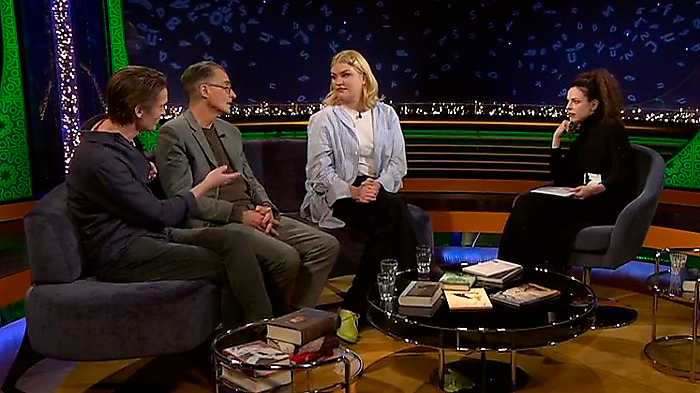 """Ur """"Babel"""" i SVT 3 mars. Sven Anders Johansson, Aris Fioretos och Tone Schunnesson samt programledaren Jessika Gedin diskuterar barn- och ungdomslitteratur."""