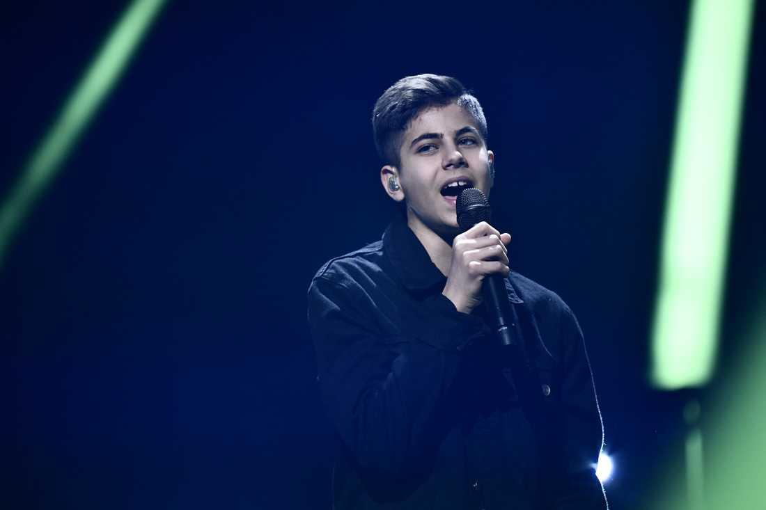 Bishara Morad under repetitionerna i Lidköpings arena under Melodifestivalen 2019