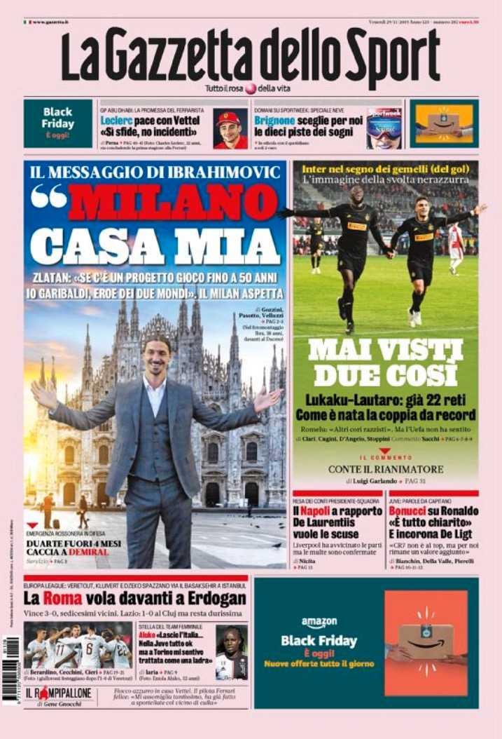 Dagens framsida på Gazzetta dello sport.