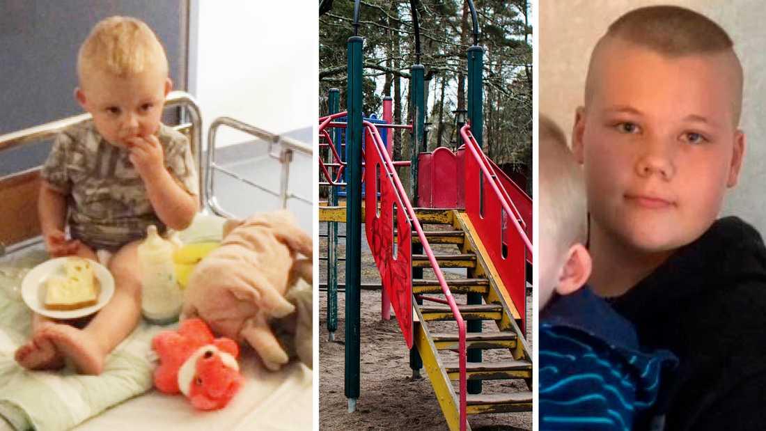 Tvåårige Liam föll från en klätterställning –och tappade medvetandet. Tack vare 13-årige Sigges rådiga insats började han att andas igen och kunde föras till sjukhus i ambulans.