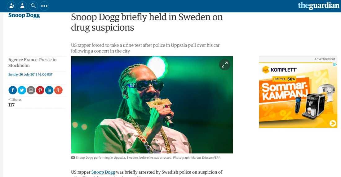 Guardian Snoop Dogg briefly held in Sweden on drug suspicions