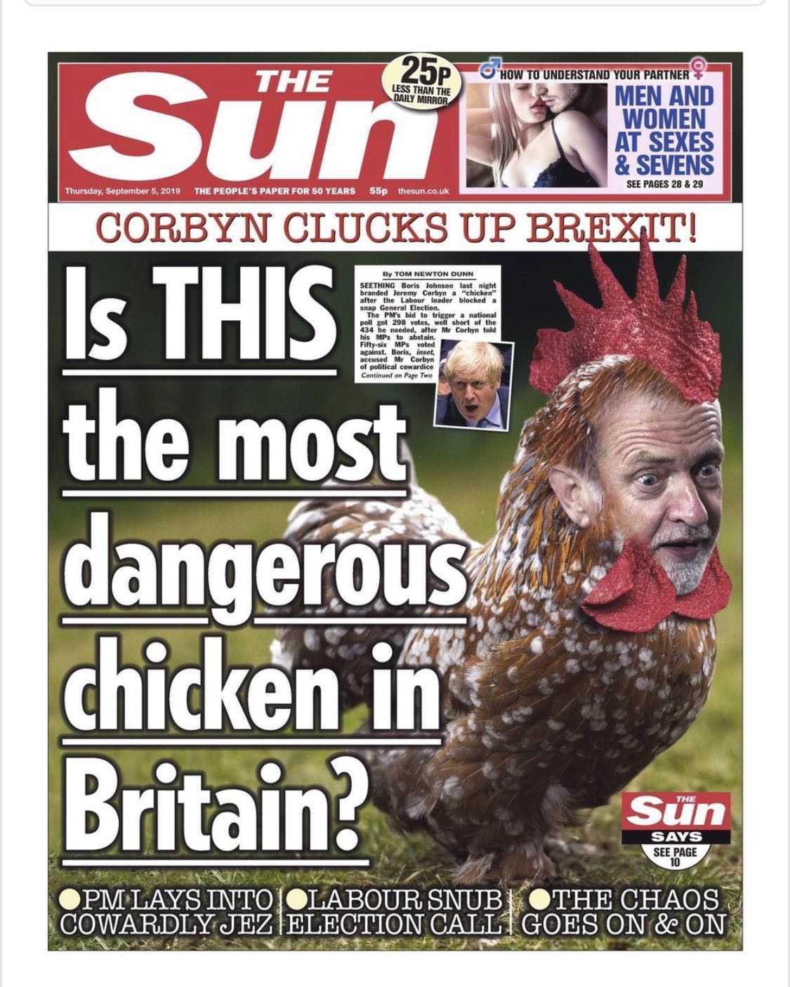 The Suns första sida med Jeremy Corbyn som kyckling.