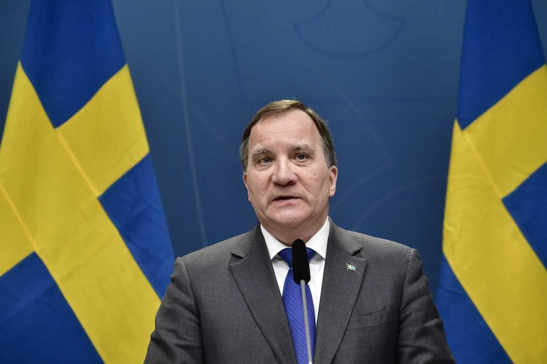 Statsminister Stefan Löfven vid pressträffen.