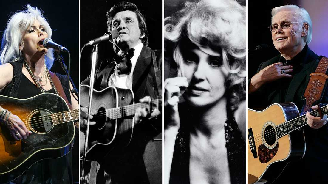 "Emmylou Harris, Johnny Cash, Tammy Wynette och George Jones är bland de artister som figurerar i ""Country music""."