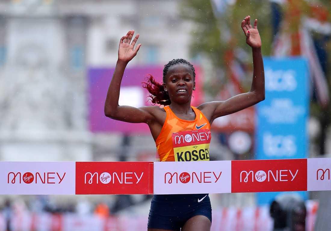 Världsrekordhållaren Brigid Kosgei är anmäld till halvmaratonloppet i Delhi. Arkivbild.