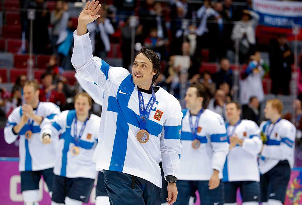 Selänne i OS 2014, SOTJI 6 matcher, 2 mål + 4 assist = 6 poäng. Finlands placering: BRONS