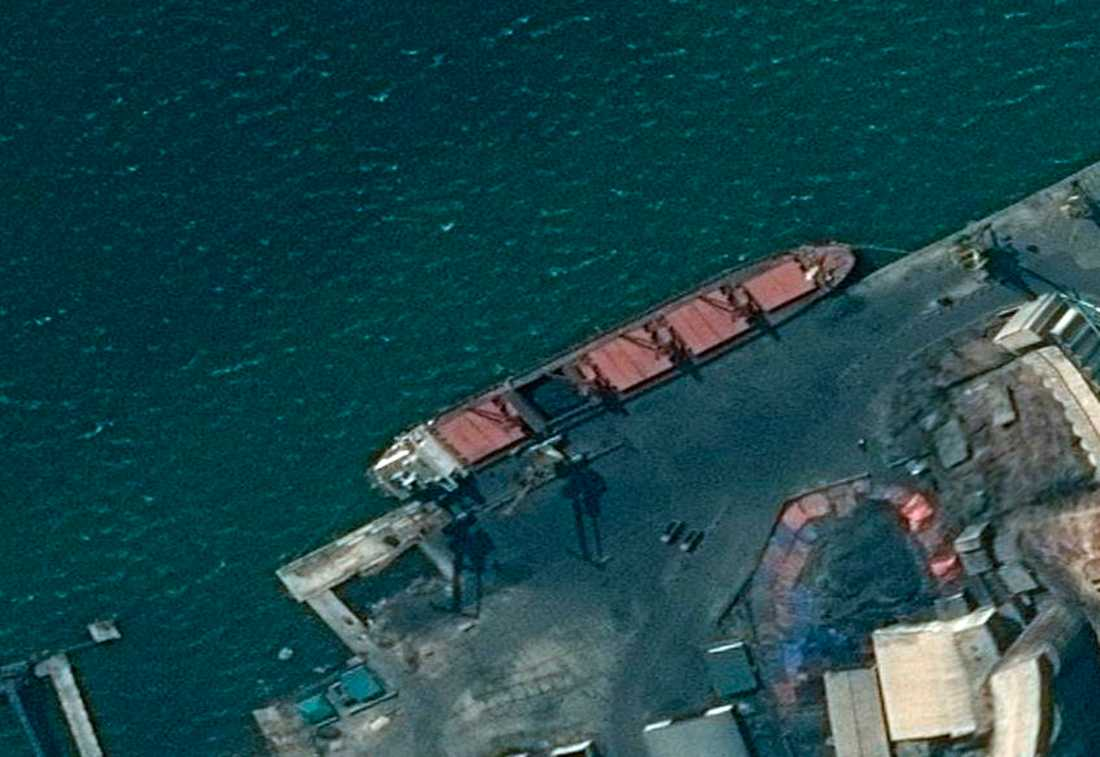 Satellitbild på det nordkoreanska fraktfartyget Wise Honest.