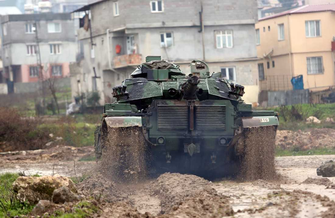 Ett turkiskt militärfordon i närheten av den syriska gränsen.