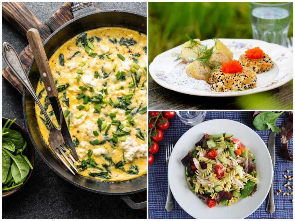 Omelett, tofuburgare och pastasallad.