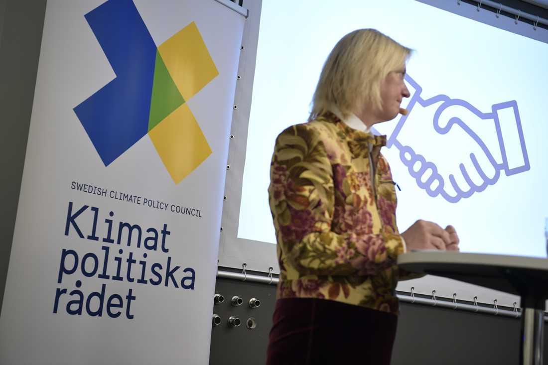 Ordföranden Ingrid Bonde presenterar Klimatpolitiska rådets rapport vid en presskonferens i World Trade Center i Stockholm på torsdagen.