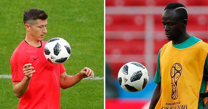 Polens Lewandowski och Senegals Mané.