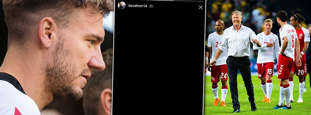 Bendtner la ut en svart bild på Instagram Stories efter beskedet.