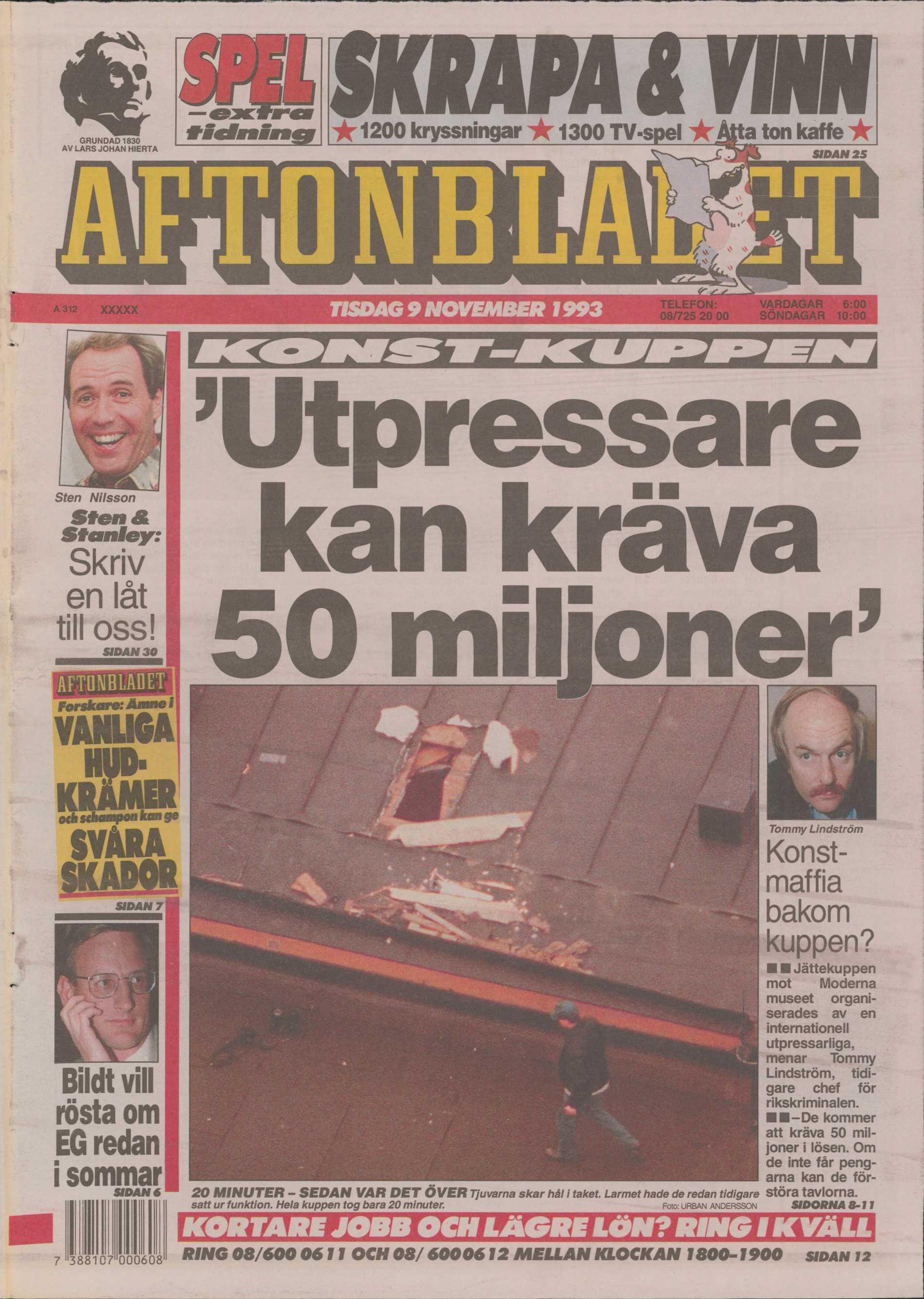 Aftonbladets förstasida tisdagen den 9 november 1993.