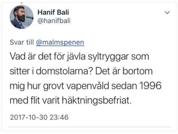 Hanif Balis tweet på Twitter i måndags kväll.