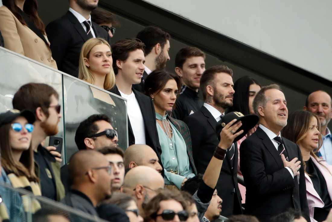 Familjen Beckham under Inter FC:s match mot Los Angeles FC.
