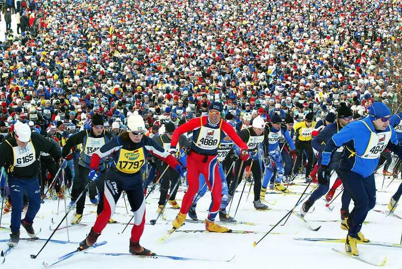 Bilden är från starten i Vasaloppet 2004.
