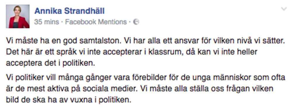 Strandhälls kommentar på Facebook.