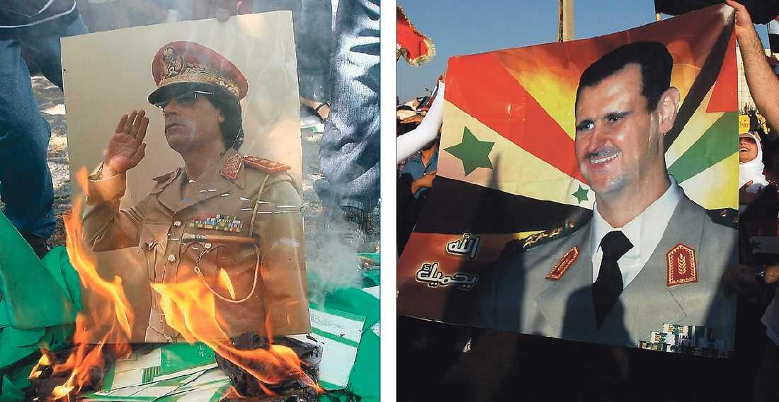 EN DIKTATORS FALL Muammar Gaddafis 42-åriga styre av Libyen är på väg mot sitt slut. Nästa stopp för den arabiska våren bör bli president Bashar al-Assads Syrien. Världen kan, om den vill.