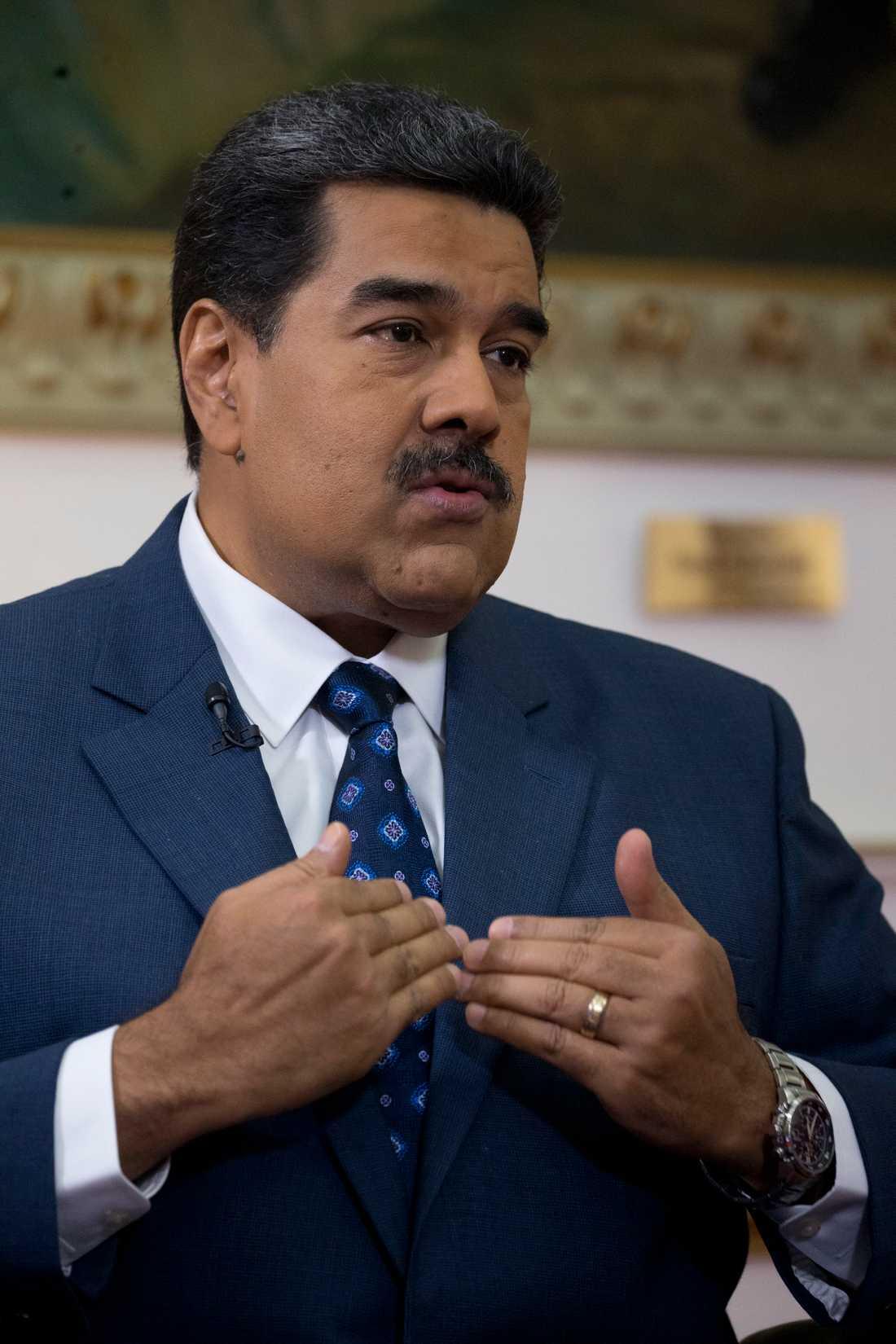 Venezuelas president Nicolás Maduro och hans regering ska ordna en egen konsert så nära Venezuela Live Aid det är möjligt. Arkivbild.