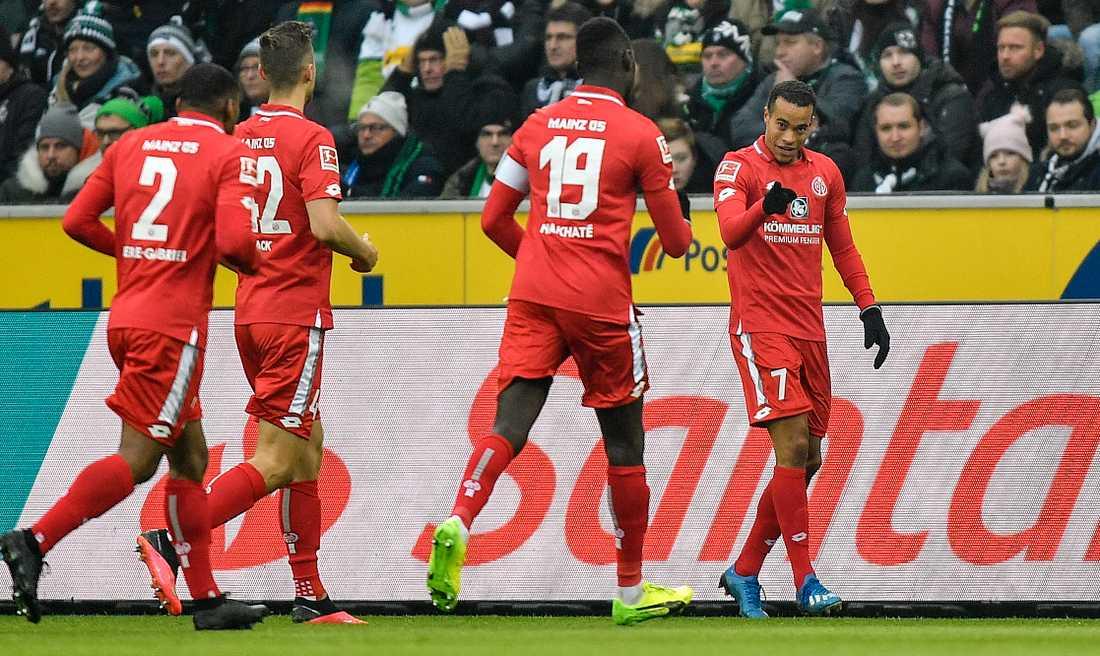 Robin Quaison (höger) är Mainz bäste målskytt den här säsongen. Arkivbild.