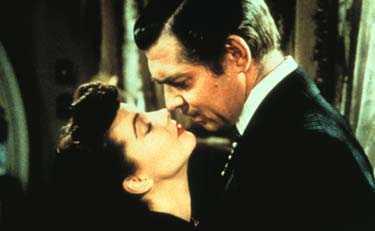 """Clark Gable snäste av Vivien Leigh i """"Borta med vinden"""" på ett så minnesvärt sätt att repliken nu valts till den bästa amerikanska filmrepliken genom tiderna."""
