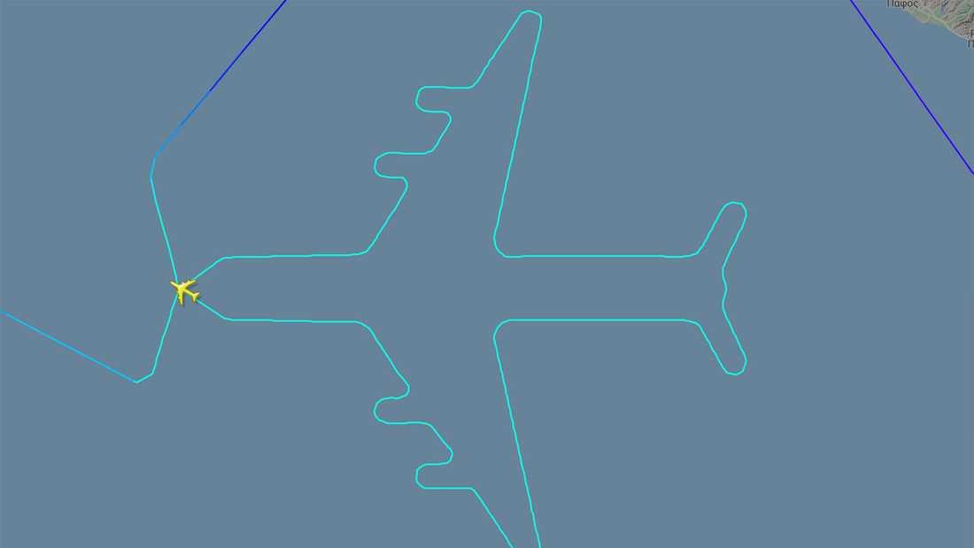 Flygrutten tog formen av ett flygplan.