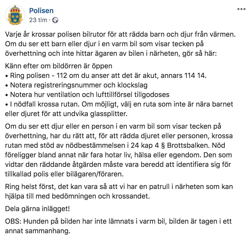 Polisens inlägg på Facebook publicerades den 23 juli