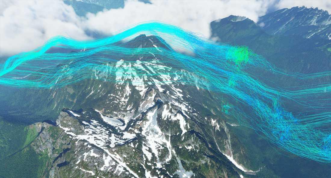 Vindarna reagerar med olika objekt i världen, till exempel trycks luftmassan upp av bergskammar som här på bilden. De skapar också vågor av olika storlek på vattnet. Pressbild.