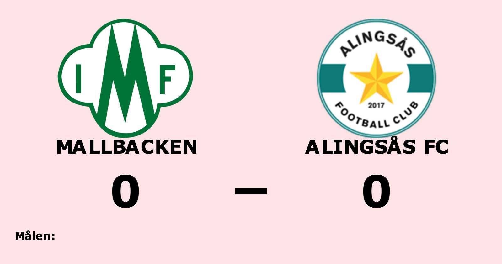 Mållöst när Mallbacken tog emot Alingsås FC