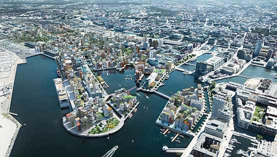Malmö kommuns vision av nya stadsdelen Nyhamnen. Planområdet börjar strax norr om Centralstationen och sträcker sig fram till Frihamnen i norr och Västkustvägen i öster.