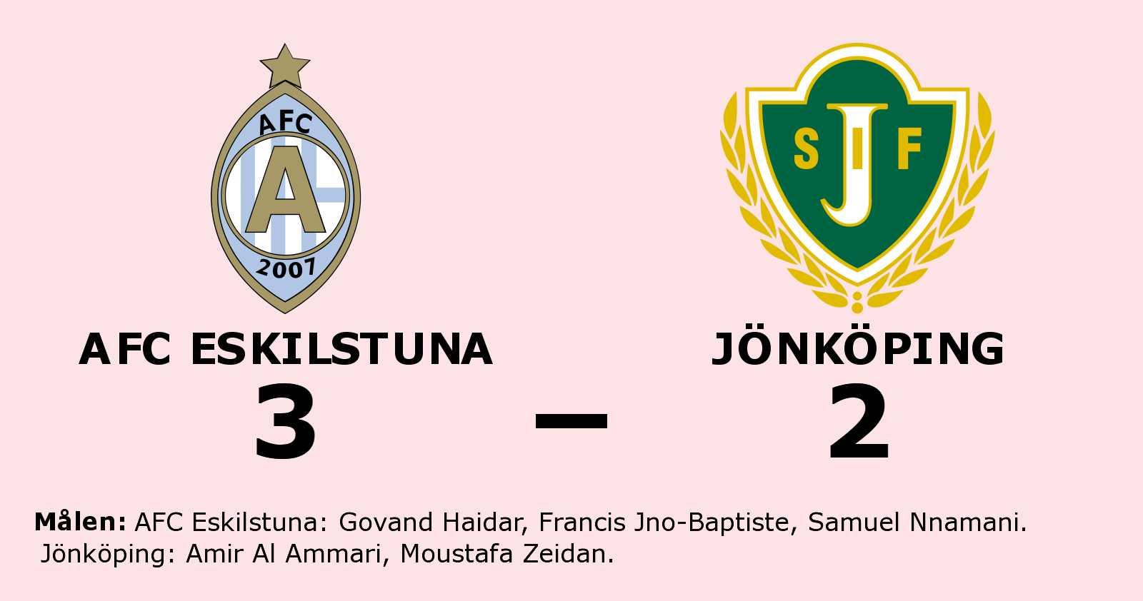 AFC Eskilstuna bröt tunga sviten mot Jönköping