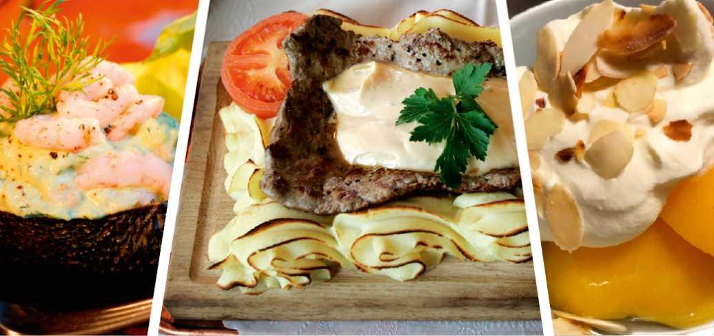 Avokado med räkor, planksteknoch persikohalvor med grädde, en middag värdig vilken 1970-talsnostalgiker som helst.