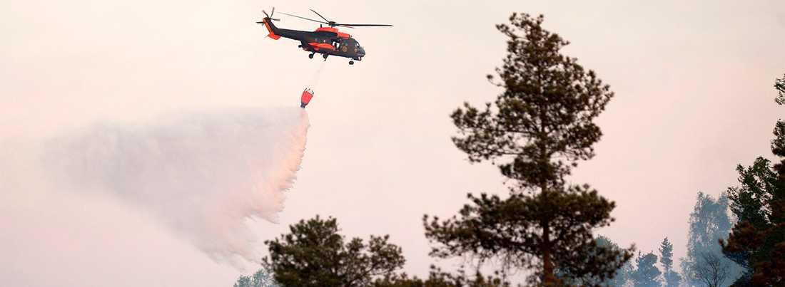 Helikoptern, en superpuma från Norrbottens flygflottilj, fick inte börja bekämpa skogsbranden.  Bilden är tagen vid ett tidigare tillfälle.