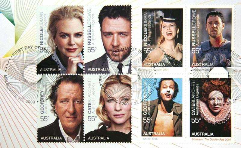 Nicole Kidman, Russel Crowe, Geoffrey Rush och Cate Blanchett lånar ut sina kändisansikten till en frimärksserie i Australien. (Klicka på bilden för förstoring.)