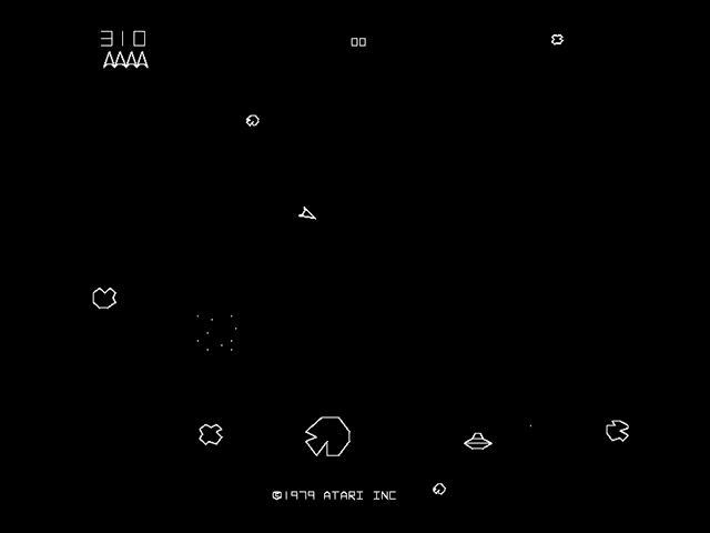 """""""Asteroids"""" från 1979 är ännu ett klassiskt Atari-spel."""