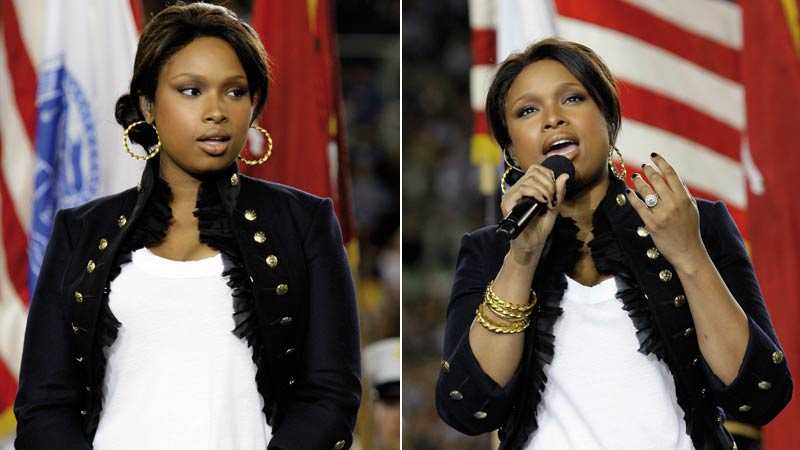 "Jennifer Hudson framförde ""The star spangled banner"" på Super Bowl – playback."